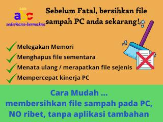 Membersihkan file sampah di leptop