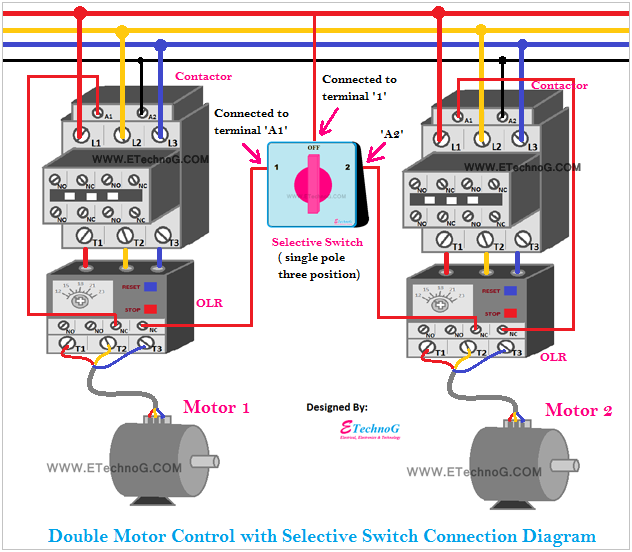 Double Motor Control with selective switch wiring connection diagram