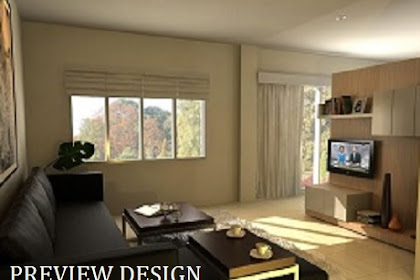 Preview design interior livingroom tv dinding kabinet ruang keluarga