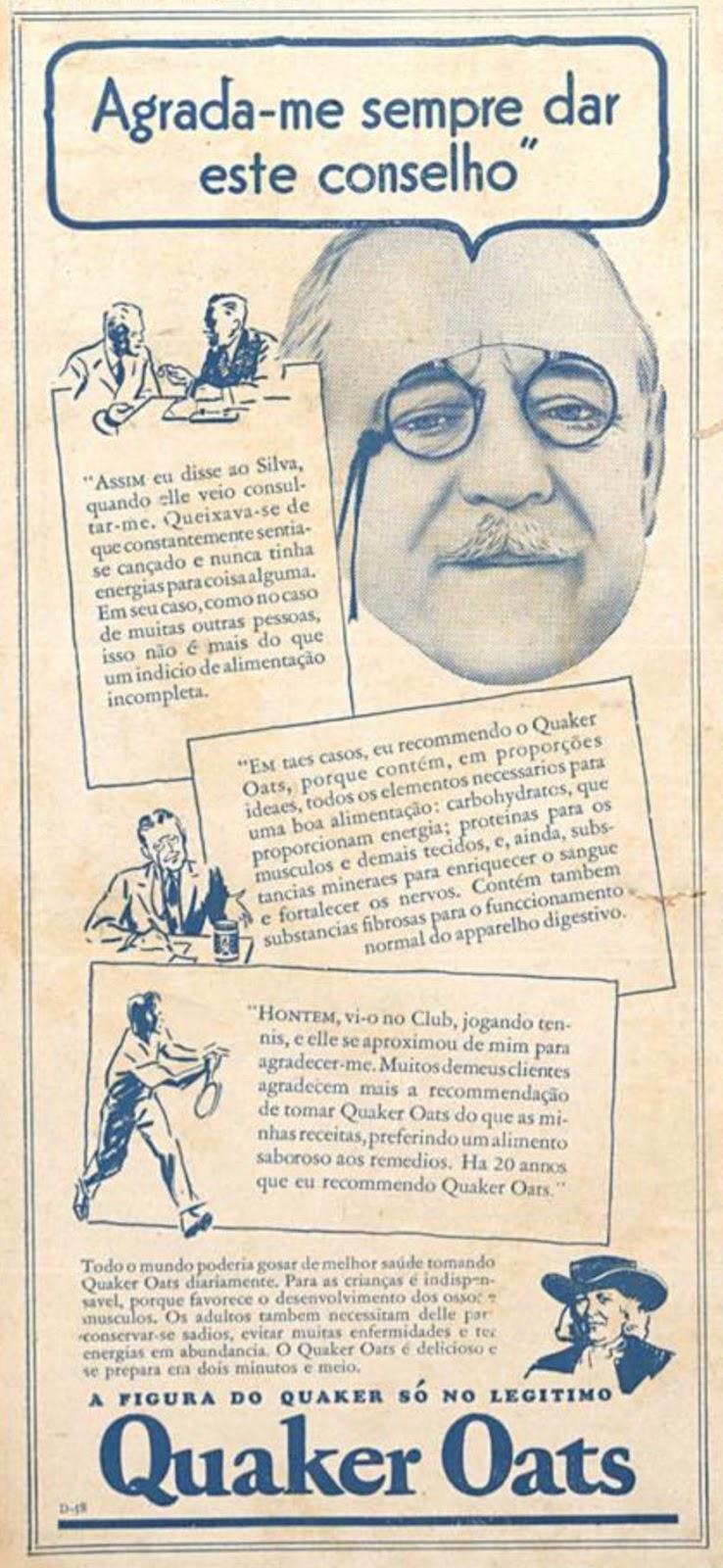 Anúncio antigo da Quaker promovendo a famosa aveia em 1935