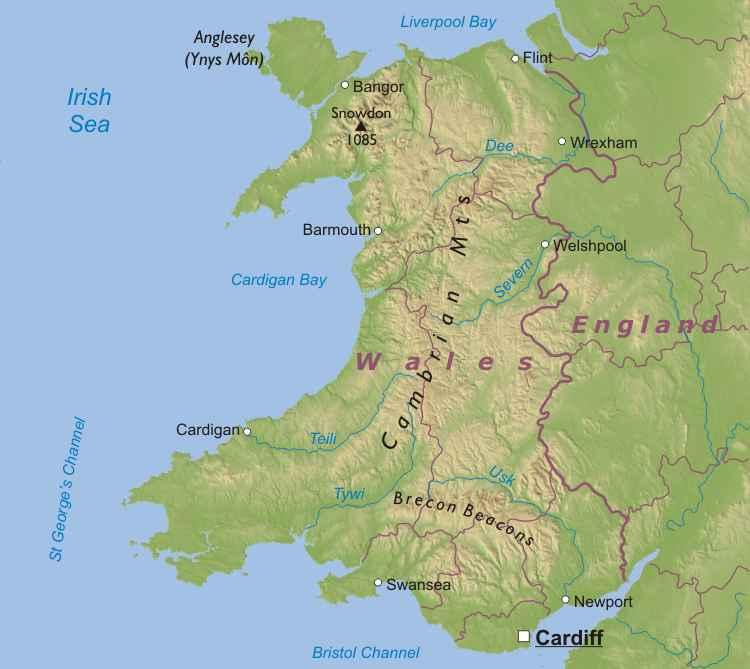 País de Gales | Mapas Geográficos do País de Gales