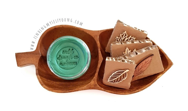 leaf playdough stamp invitation to play
