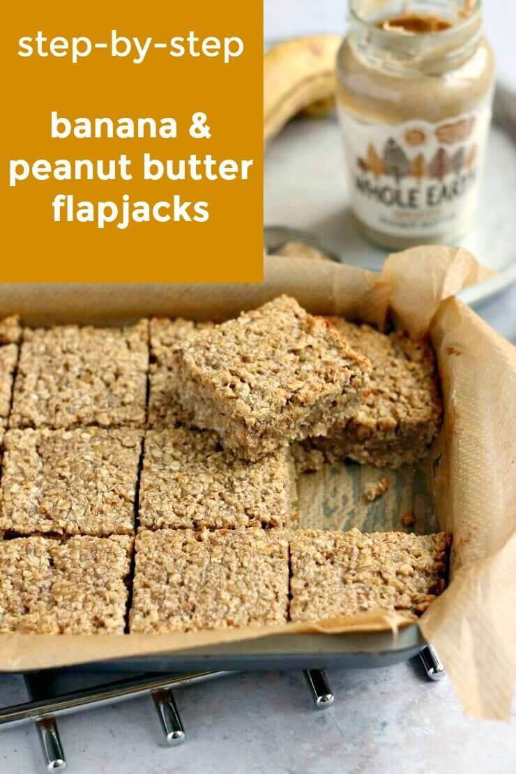 Step by step banana peanut butter flapjacks