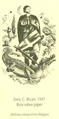 Esguard de Dona - Reproducció Sant Jordi 2017 IEP  - Enric C. Ricart, 1947  Boix sobre paper -Biblioteca Museu Víctor Balaguer