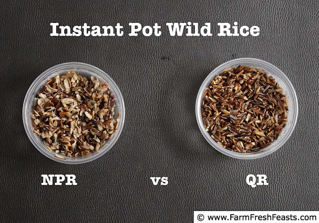 Image comparing 2 kinds of pressure-cooked wild rice using the QR vs NPR methods