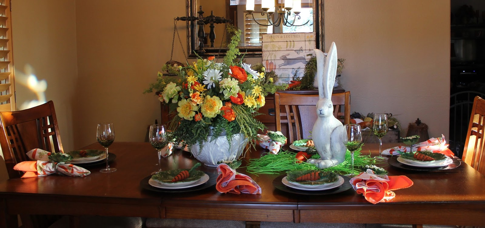 Southern seazons spring tablescape in the dining room for Dining room tablescapes ideas