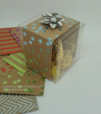 Paperjay Crafts, clear tiny treat boxes, foil frenzy dsp, mini gift bows, Stampin Up