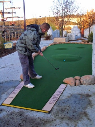 Richard Gottfried playing at Pirate Cove Adventure Golf in December 2011