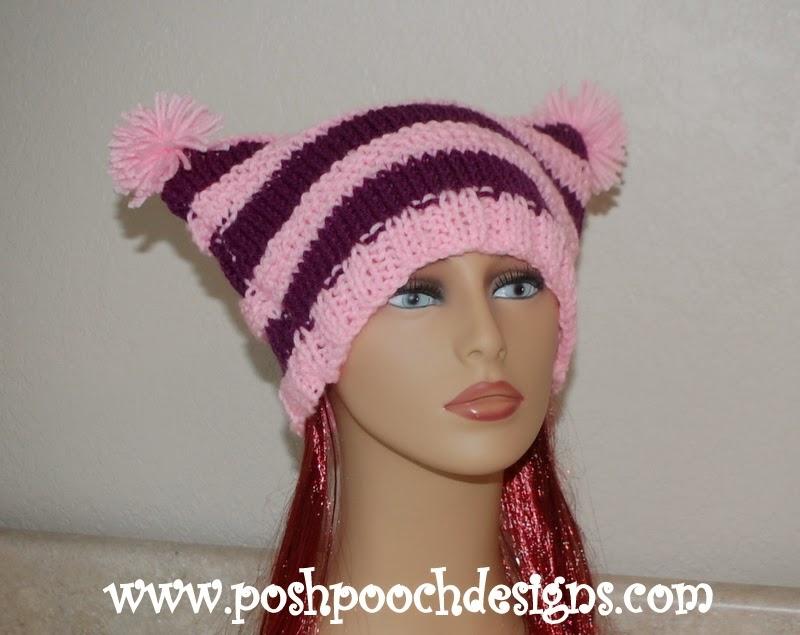 Posh Pooch Designs Dog Clothes Striped Pom Pom Hat Free Knitting