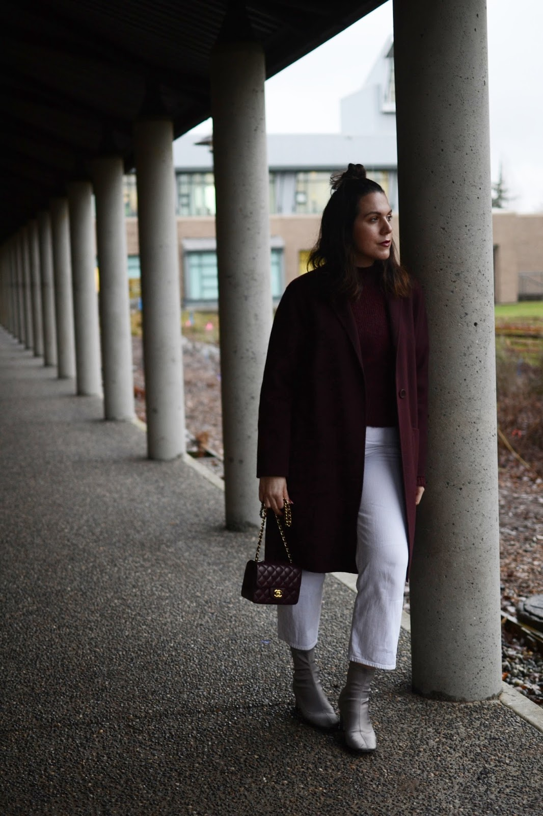 burgundy theory coat outfit vancouver fashion blogger  aleesha harris chanel mini flap bag