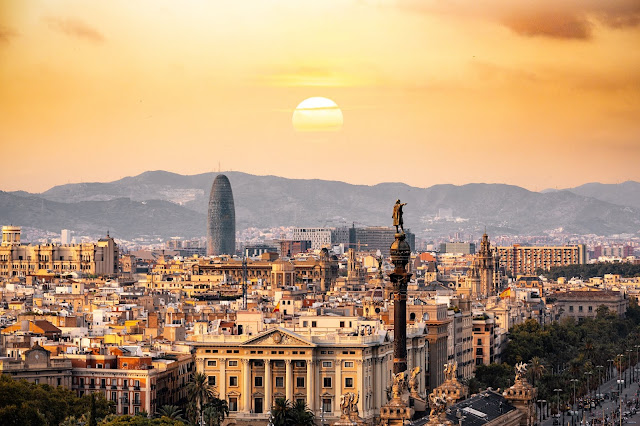 An aerial view over the city of Barcelona in Spain
