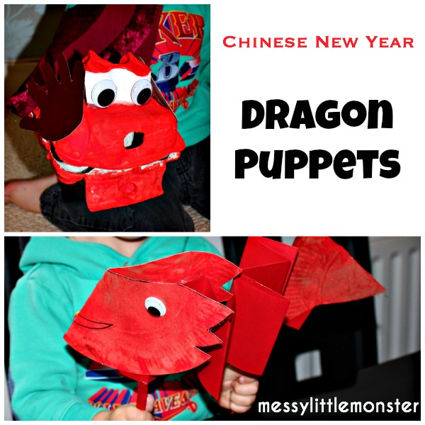Chinese new year activity ideas : Simple dragon puppet crafts