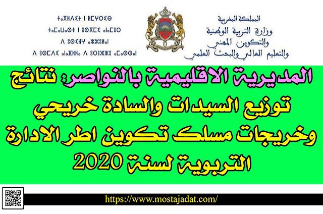 المديرية الاقليمية بالنواصر: نتائج توزيع السيدات والسادة خريحي وخريجات مسلك تكوين اطر الادارة التربوية لسنة 2020