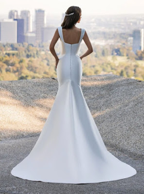 Mermaid Pronovias Bridal dress in mikado with the neckline back design