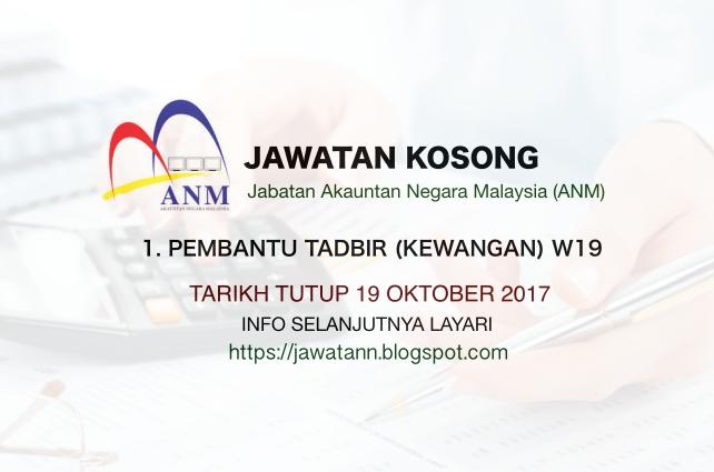 Jawatan Kosong Jabatan Akauntan Negara Malaysia (ANM)