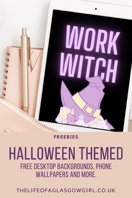 Pinterest Graphic for Halloween themed freebies blog post graphic on Thelifeofaglasgowgirl.co.uk