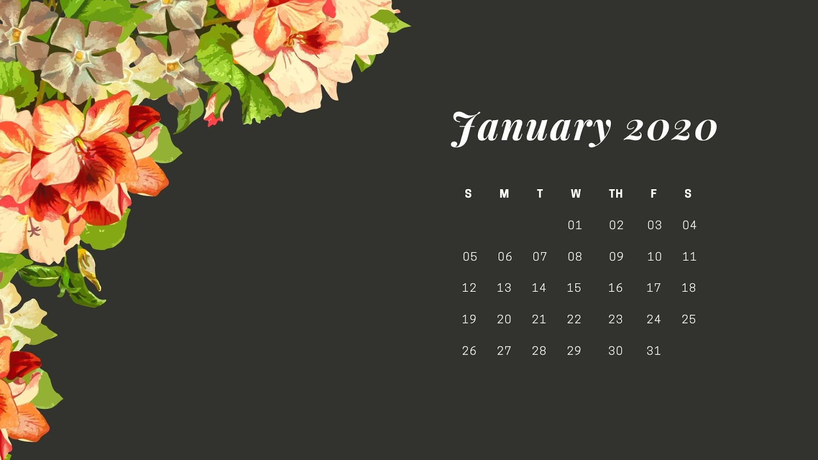 January 2020 Calendar images HD Wallpaper