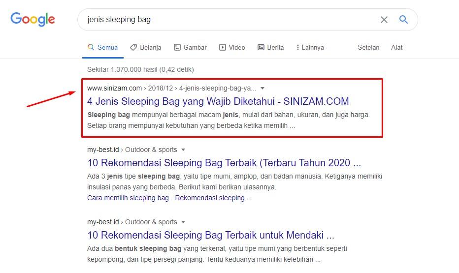 Artikel SEO yang muncul di halaman pertama Google