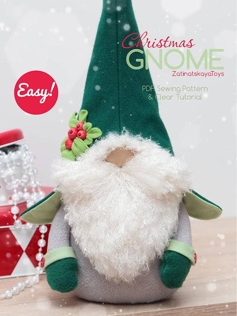 Olof gray Christmas gnome with a hat and mittens by sewing patterns of Zatinatskaya Natalia