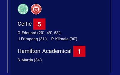 Celtic defeats Hamilton Academical 5-0 to win 10th successive Scottish Premiership title as Odsonne Edouard fires hat-trick