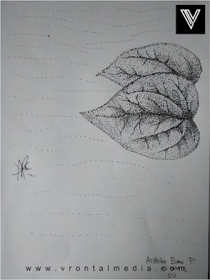 contoh gambar pointilis daun jatuh