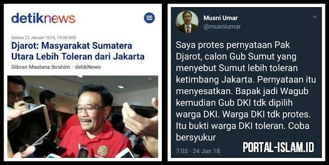 Sebut Masyarakat Sumut Lebih Toleran dari Jakarta, Djarot Kena Semprot Rektor UIC Jakarta