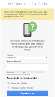 Verifikasi Nomor HP Email Gmail