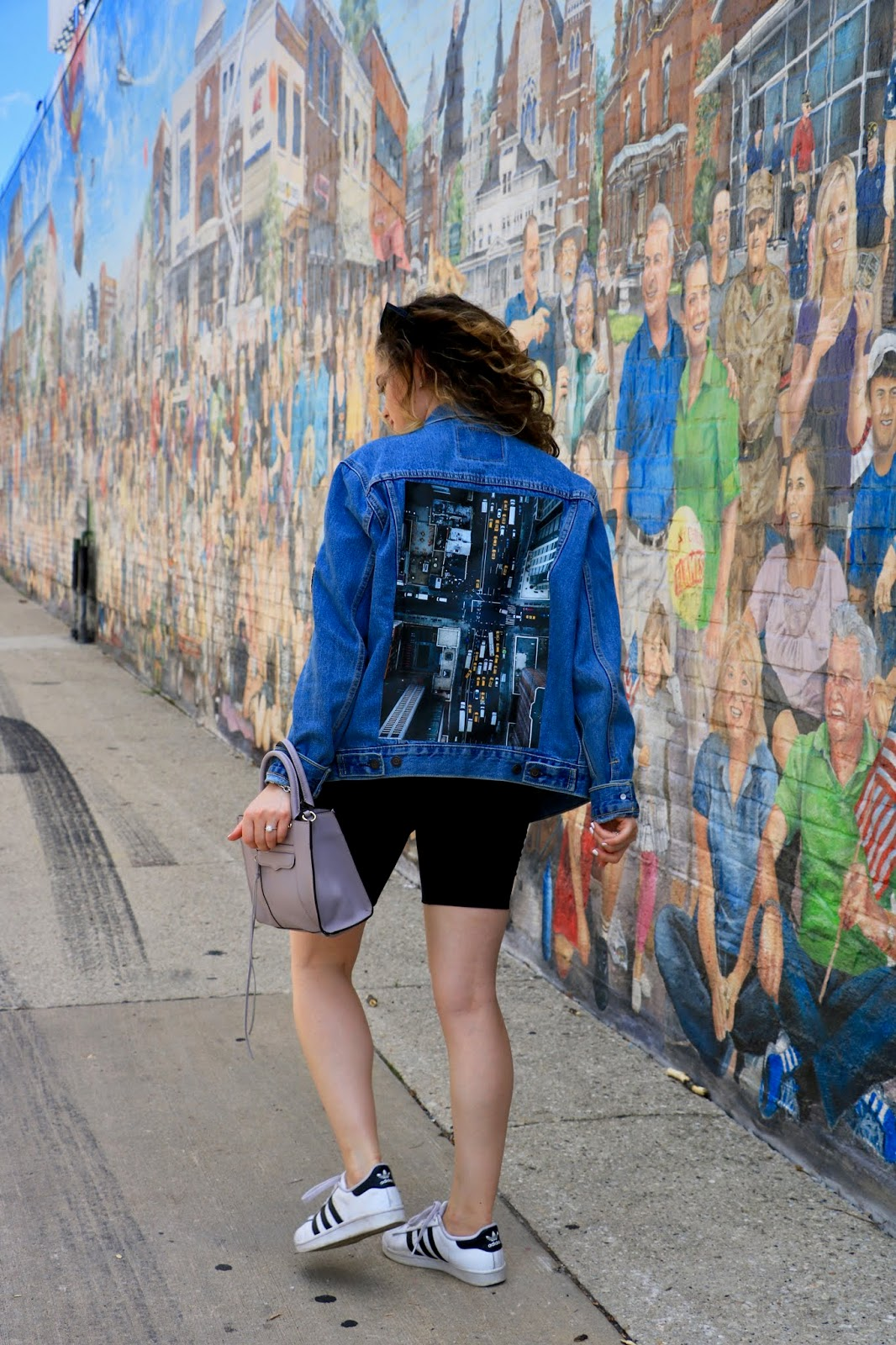 NYC fashion blogger Kathleen Harper wearing a personalized screen-print denim jacket.