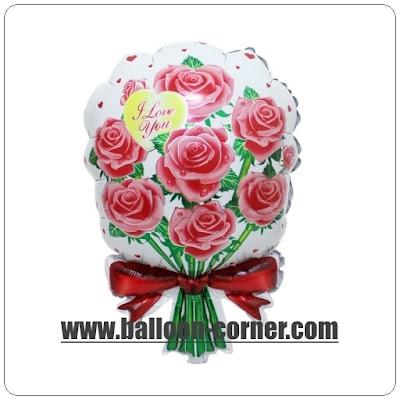 Balon Foil Hand Bouquet Bunga Mawar