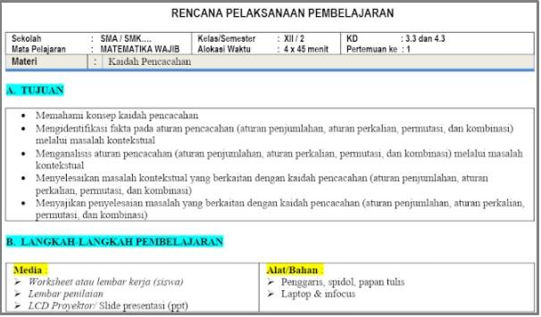 Download RPP 1 Lembar Matematika SMA Kelas 12 Semester 2