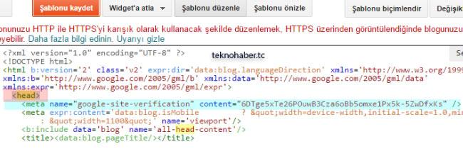 Google Serch Console meta tagı