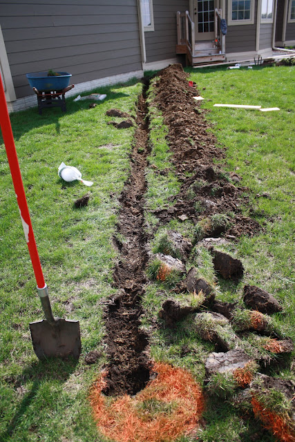 How To Trench A Downspout Our Patio Project The Hansen