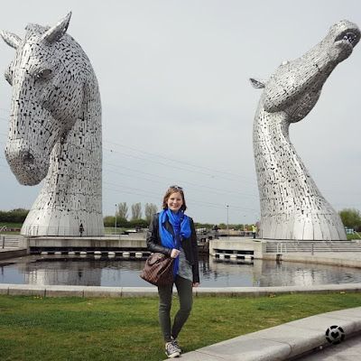 awayfromblue Instagram | falkirk Kelpies sightseeing outfit grey knit skinny jeans Louis Vuitton scarf and speedy bag