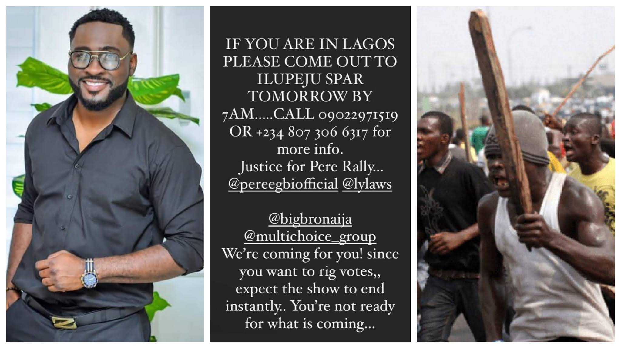BBNaija: Pere's fans set to stage a protest in Lagos over Big Brother's twist, reveals time and venue