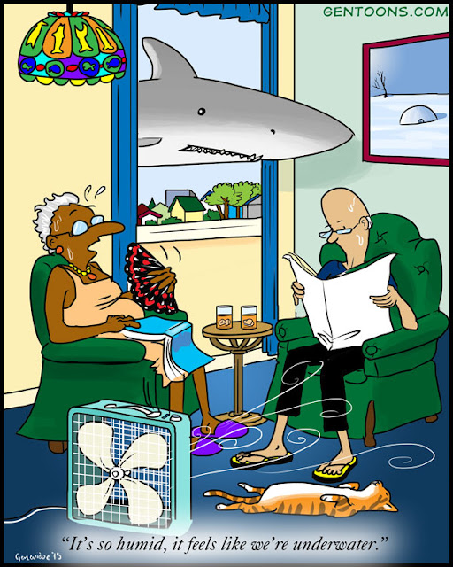"""A couple in their underwear sitting in the easy chairs, a fan blowing on them. The man reads a newspaper.   The woman is fanning herself with a paper fan. She says, """"It's so hot today, it feels like we're underwater."""" Behind them, a shark floats through the open window."""