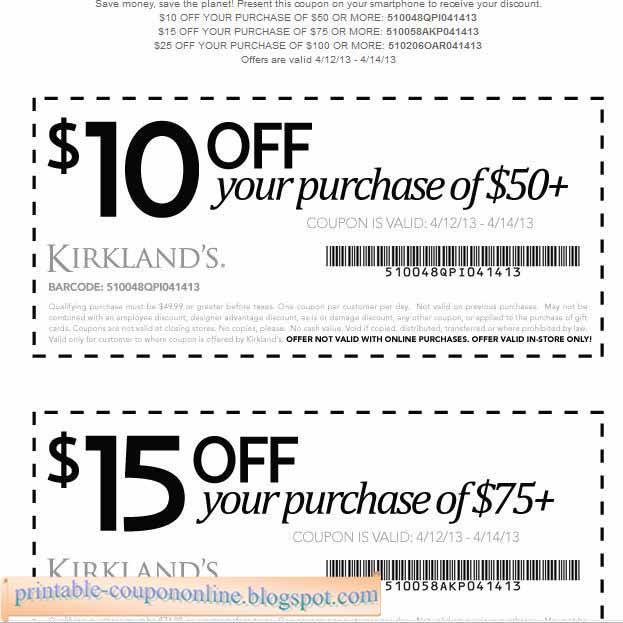 Kirkland's occasionally offers customers extra discounts for spending a certain amount; try checking for discount coupon codes on their home page to receive 20% off of an online order. Apply for their store credit card to receive an additional 15% off of your order, you'll also receive special discounts, reward points, and coupons for.