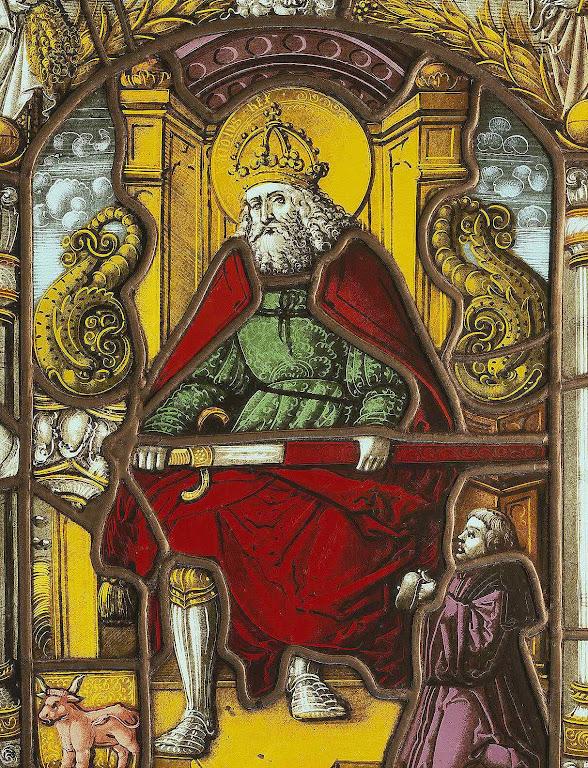 Carlos Magno é venerado em algumas dioceses como Beato, vitral de 1519, Musée National Suisse
