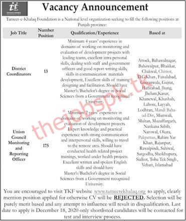 Tameer e Khalaq Foundation Jobs 2020