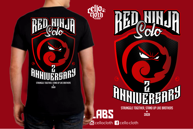 Red Ninja Anniversary T-Shirt - Contoh Desain Kaos Sablon Rubber Plastisol