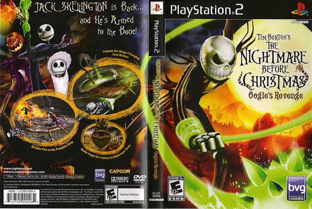 Descargar Tim Burton's The Nightmare Before Christmas - Oogie's Revenge ps2 iso NTSC-PAL. Es un videojuego de acción-aventura desarrollado por Capcom para PlayStation 2 y Xbox. El juego toma lugar después de los eventos de la película.