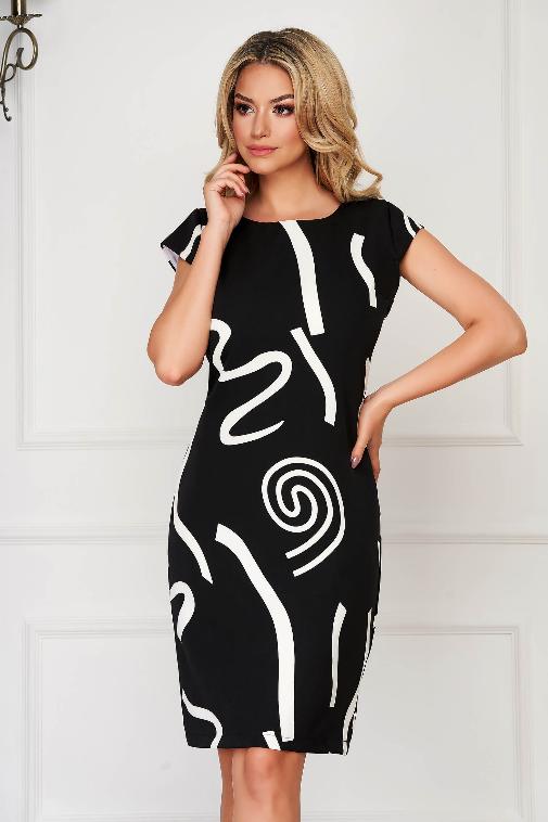 Rochie neagra eleganta midi de zi cu modele albe pentru femei plinute