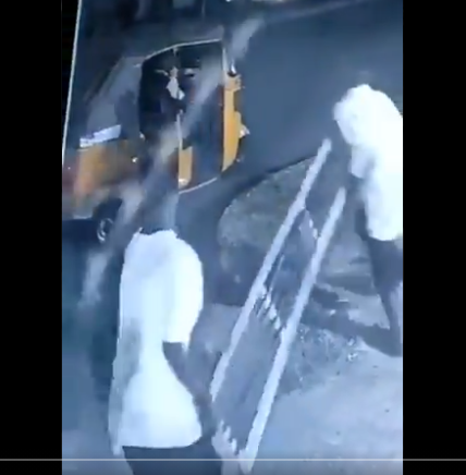 Two men caught on CCTV footage stealing metal manhole covers (video)