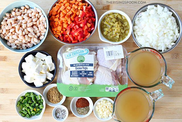Ingredients For Making Creamy White Chicken Chili