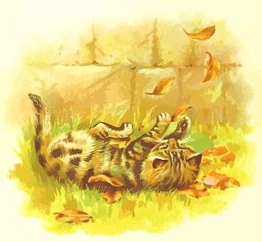 Gatito jugando con hojas