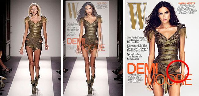 Demi Moore W Magazine Before and After