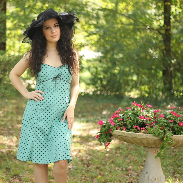Blue and Black Polka Dot Dress