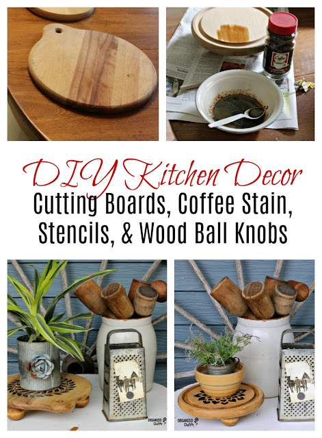 DIY Kitchen Decor with Cutting Boards, Coffee Stain, Stencils & Wood Ball Knobs