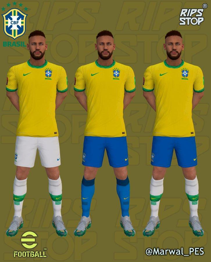 Brazil Qualifiers Qatar 2022 Kits For eFootball PES 2021