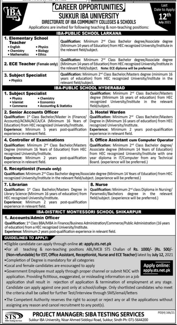Directorate Of IBA Community Colleges & Schools Sukkur IBA University Jobs 2021