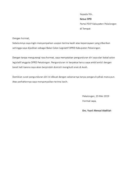 Contoh Surat Pengunduran Diri Caleg/Bacaleg